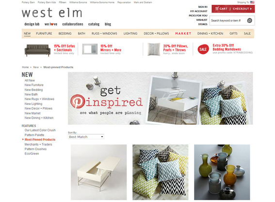 West Elm shares its most popular pins on its website.