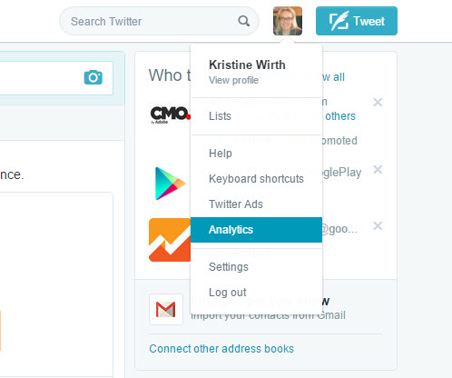 How to access Twitter Analytics.