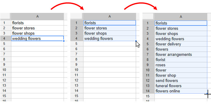 Google Sets functionality on a Google Docs Spreadsheet.