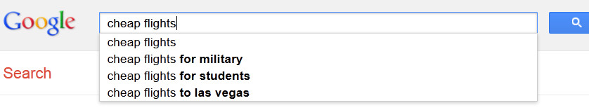 Autocomplete suggestions on Google's search bar.