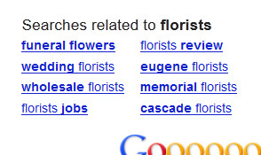 Related search terms in Google.