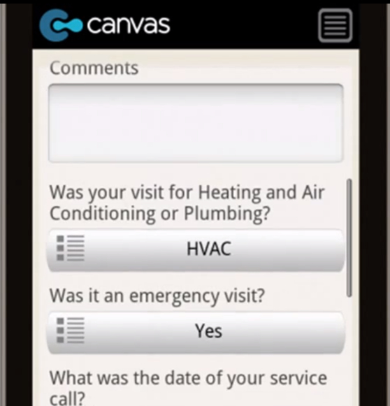 HVAC customer satisfaction survey app.