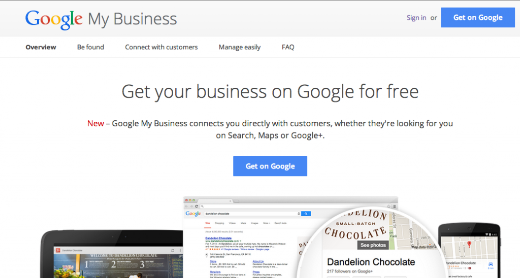 Google My Business, home page.