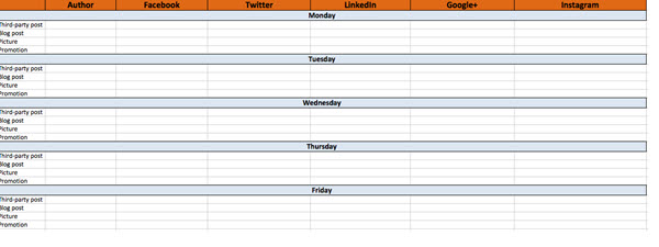 Hootsuite's template demonstrates what a social media calendar can look like.