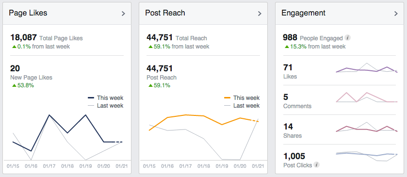 Facebook Insights presents three key pieces of information front and center.