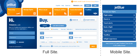 JetBlue Sites