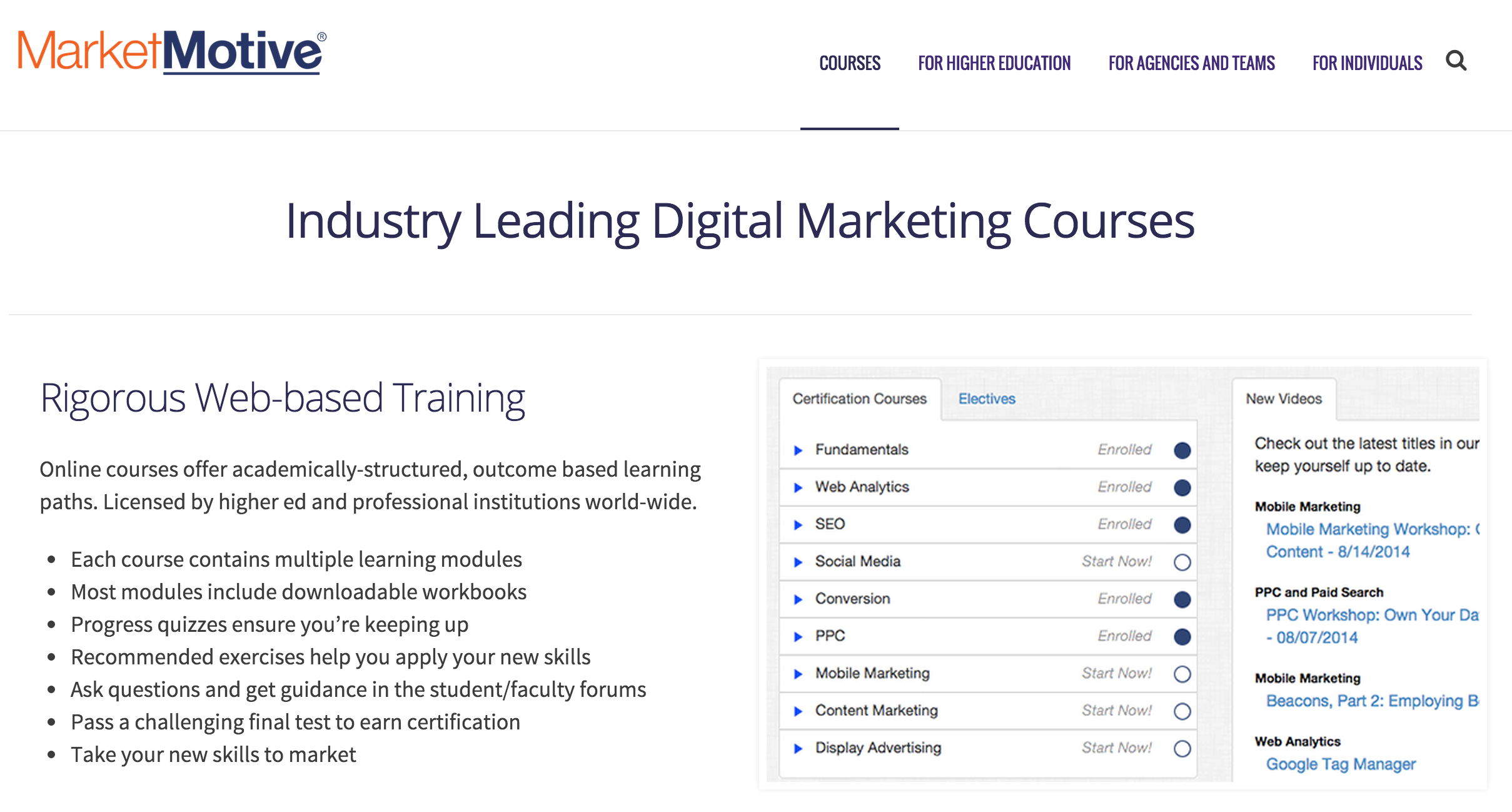 Market Motive: Self-paced and coached OMCP® certified courses.