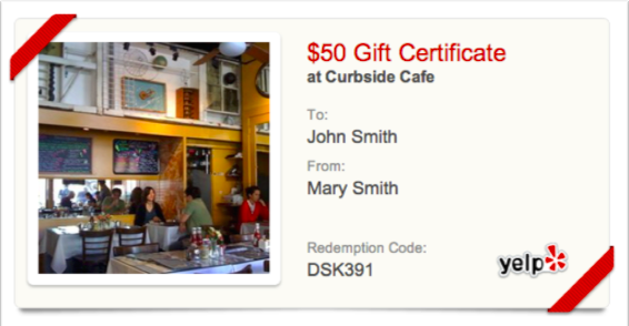 Example of a Yelp gift certificate.