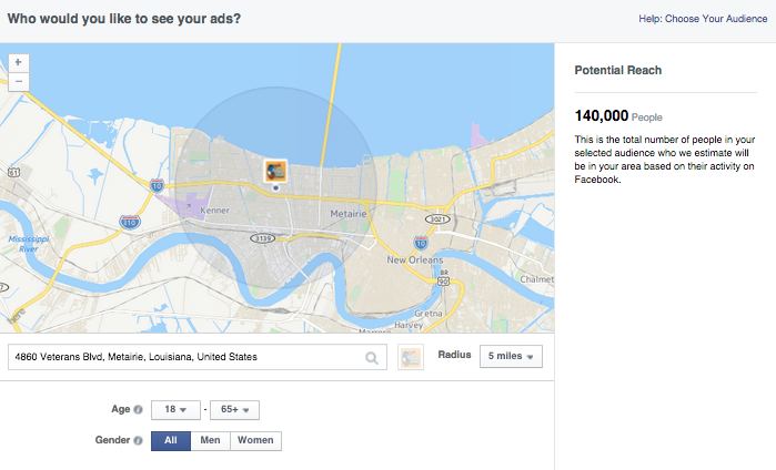 Facebook Local Awareness ads provide hyper-local targeting.