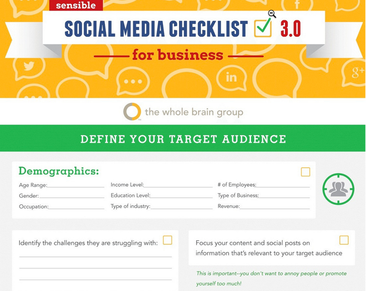 Customizable social media strategy and action plan checklist.(Source: The Whole Brain Group)
