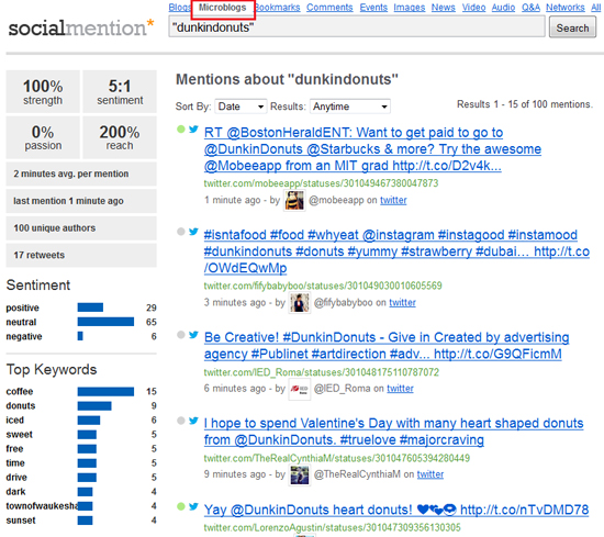 Social Mention lets you search through specific areas of social media.