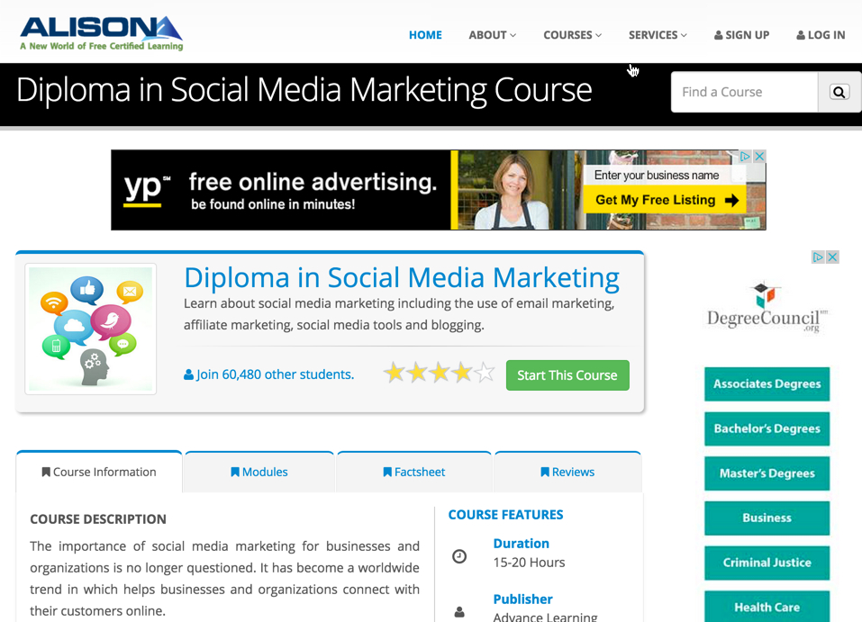 Alison: Standards-based and certified courses in social media.