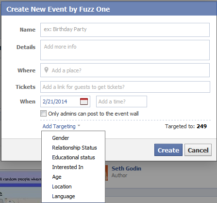 Creating a new event on Facebook