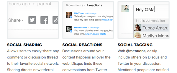 Disqus has many social integration features.
