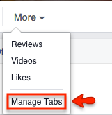 "Click ""Manage Tabs."""