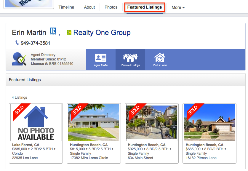 Featured listings tab on a Facebook page.
