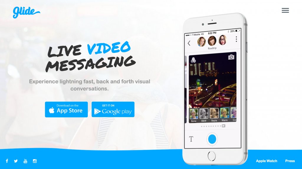 Glide offers video messaging for increased interaction.
