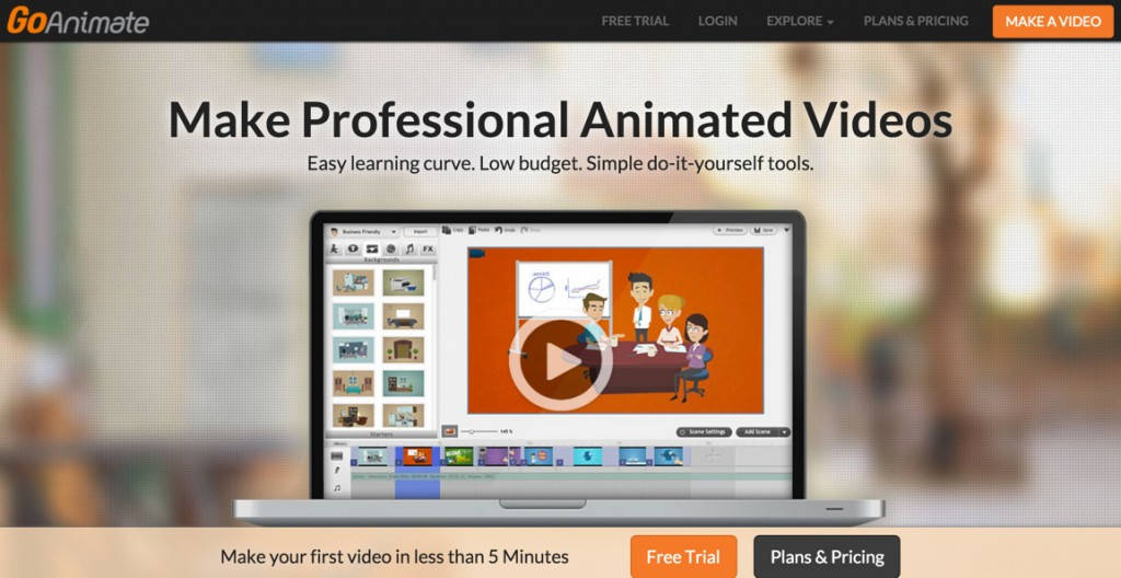 GoAnimate offers drag and drop video animation.