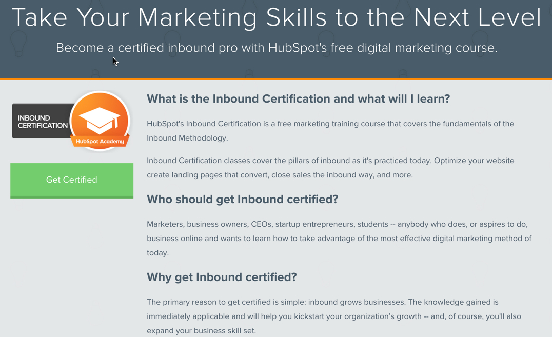 Inbound Certification from HubSpot Academy.