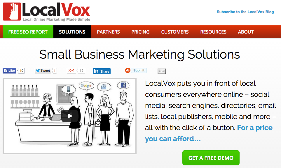 LocalVox includes a mobile-optimized website, SEO, email, and social media marketing.