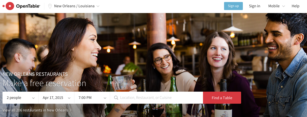 OpenTable users can make reservations online.