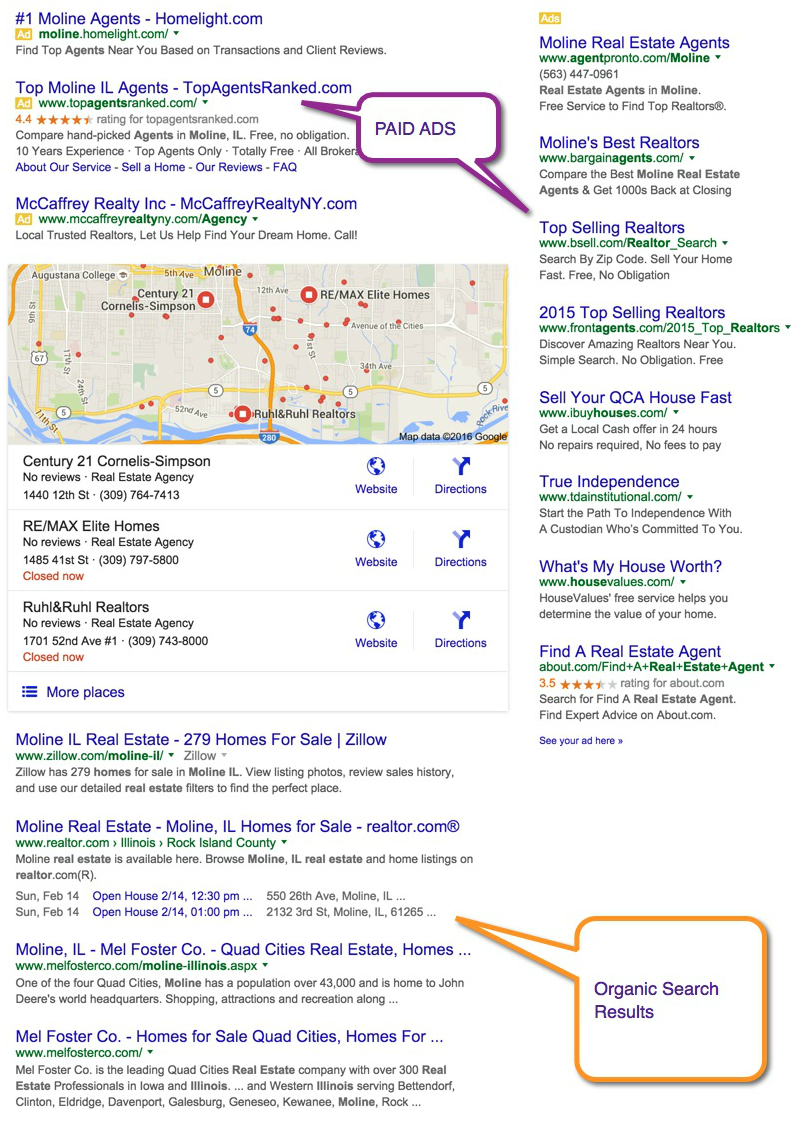 Search engine results page with organic and paid listings.