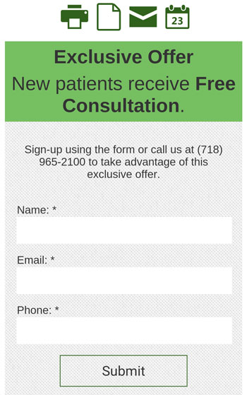 Thumb-friendly contact form, Park Slope Chiropractic & Wellness.
