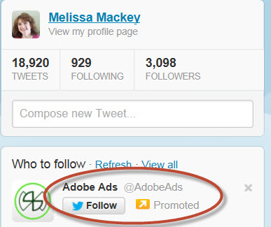 Example of a promoted account.