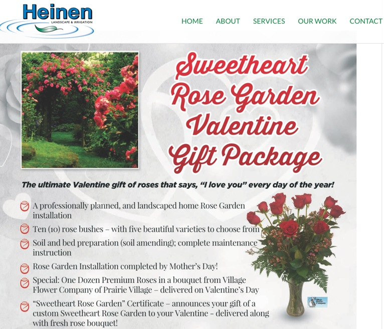 Sweetheart Rose Garden Valentine Gift Package.