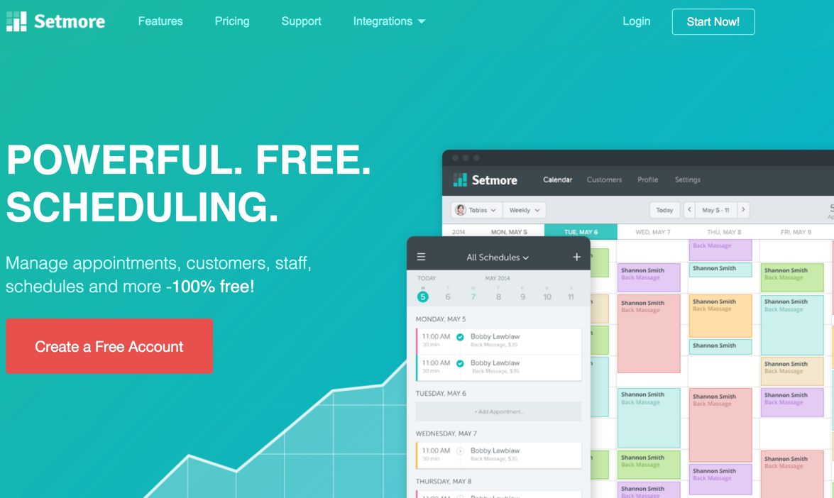 Setmore: Full-featured online scheduling tool.