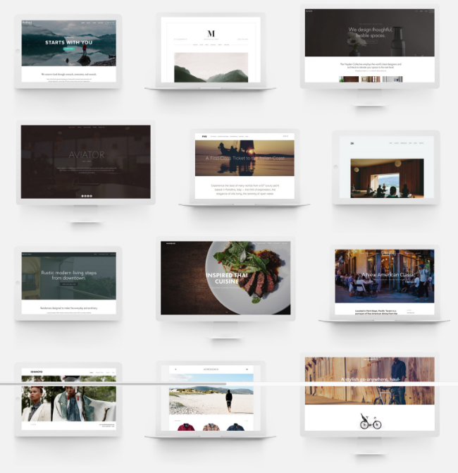 Squarespace offers a variety of templates for different industry categories.
