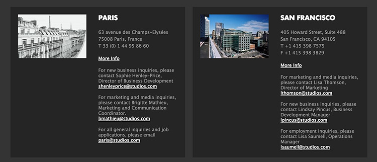 Multiple locations contact us form with role specific emails.