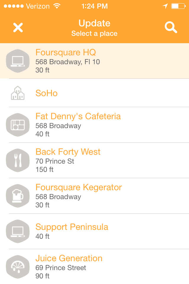 Swarm allows users to check-in to businesses.