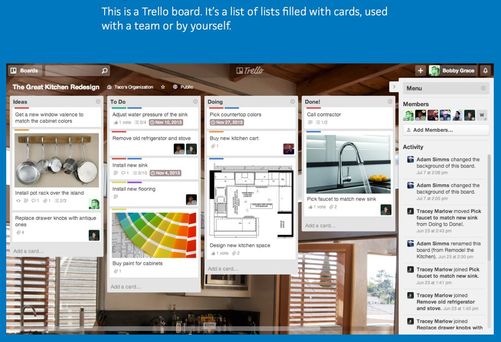 Trello: Drag-and-drop cards to organize web projects.