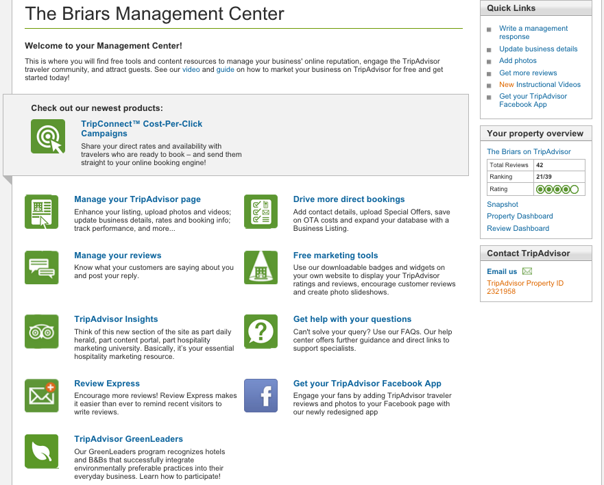 Manage your listing via the Business Management Center.