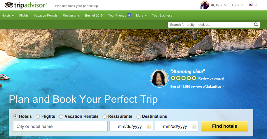 TripAdvisor is the leading travel industry consumer rating and review site.