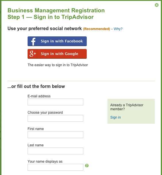 Sign in using Facebook, Google+, or register using the form.