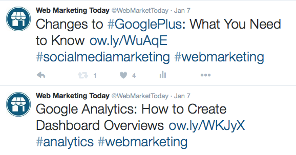 Use hashtags to organize content around relevant topics.