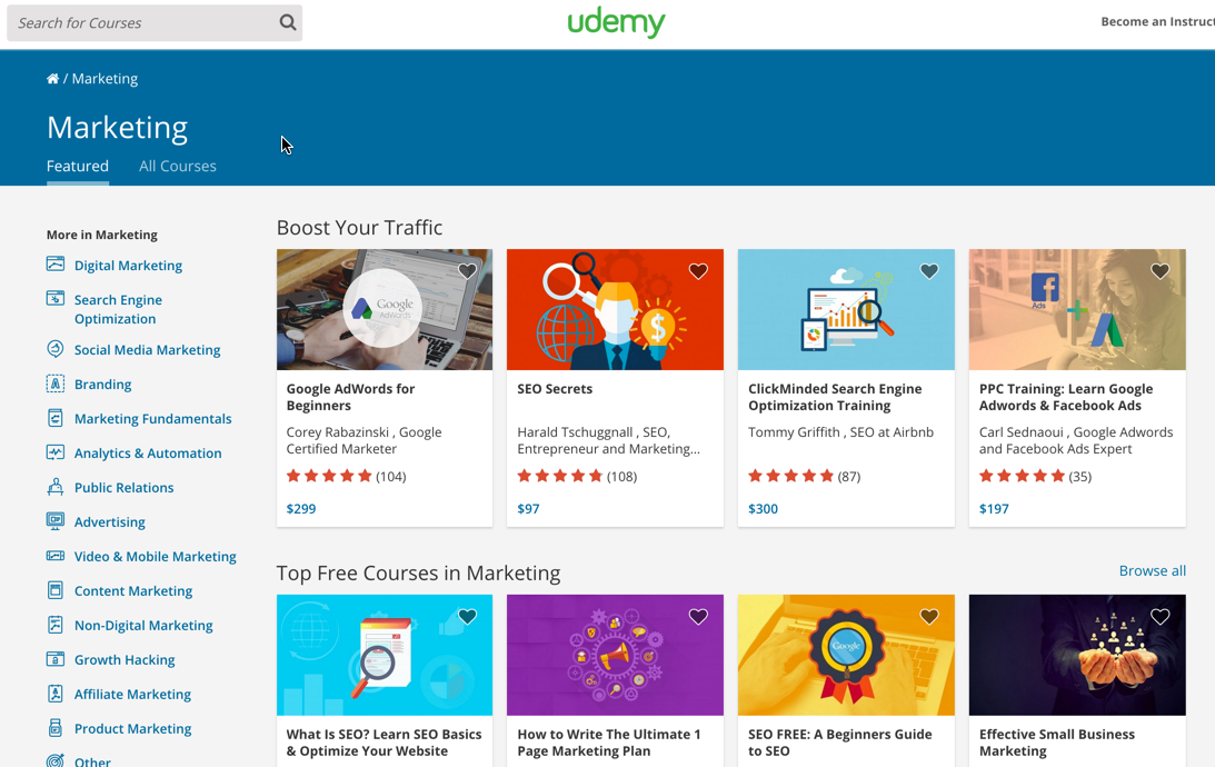 Udemy: Free and paid online marketing courses.
