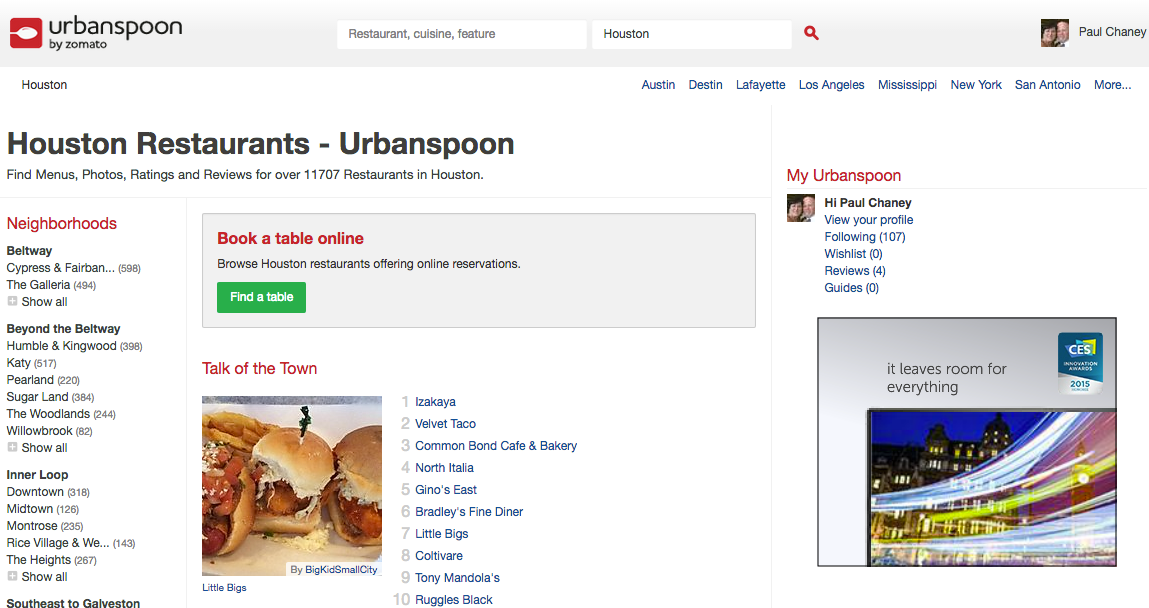 Urbanspoon is devoted exclusively to the dining industry.