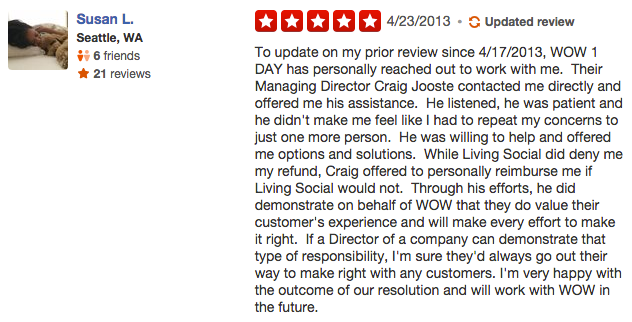 A Yelp reviewer changed her review based on the business owner's reponse.