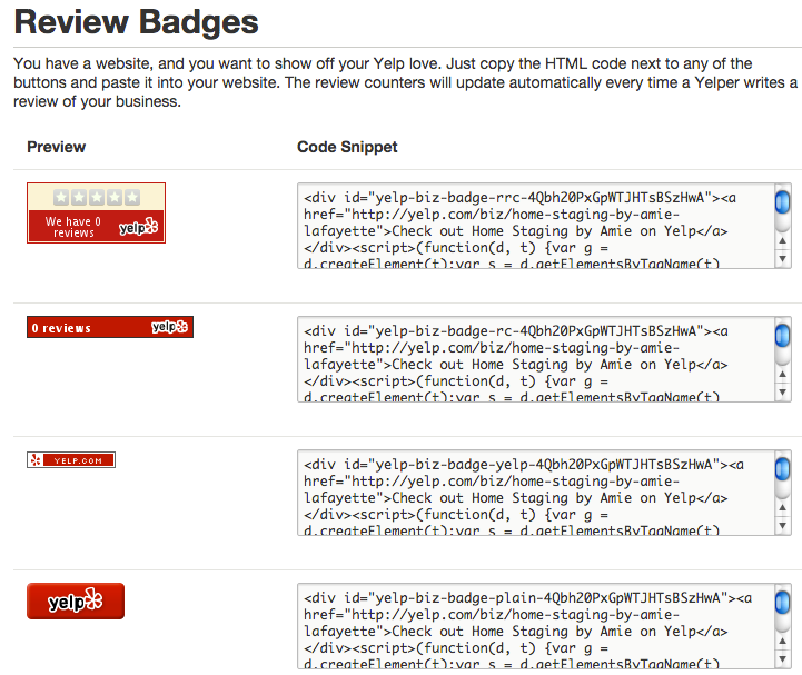 Add Yelp review badges to your website.