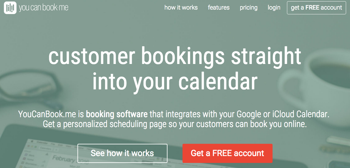YouCanBook.me: Personalized scheduling using Google or iCloud calendars.