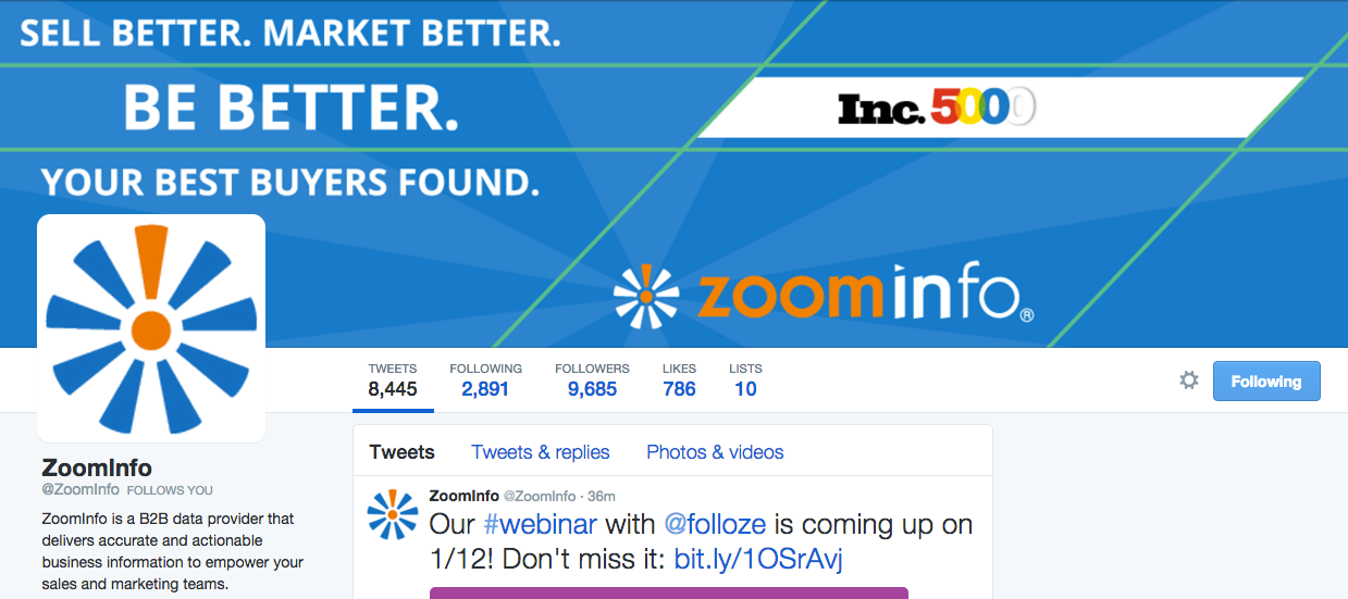 B2B data provider Zoominfo uses creative imagery and its website color scheme in its Twitter profile.